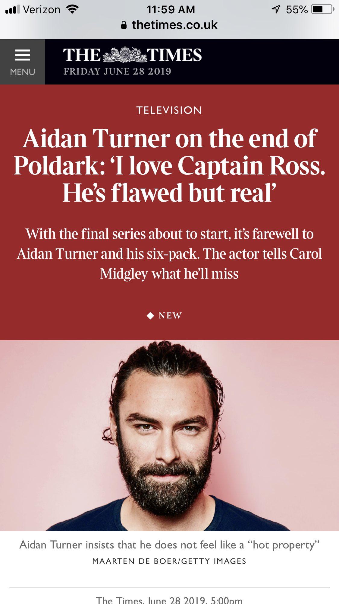 The Times Article on Aidan Turner and Poldark S5 – Aidan