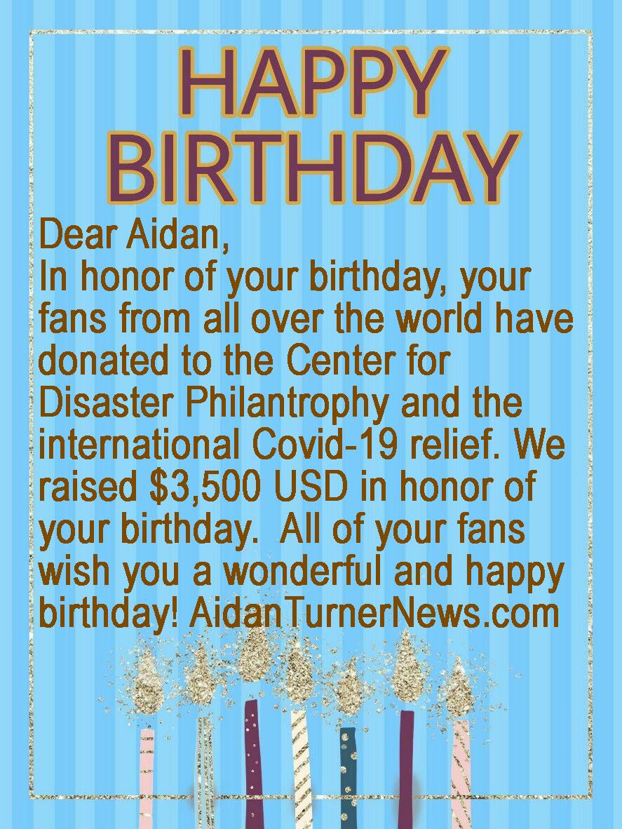 Aidan Turner Birthday Card